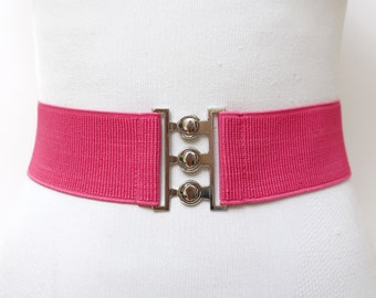 117f9d151c04a 1980s pink wide stretch belt for women