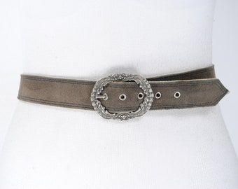 Vintage Wide Suede Belt with Goldtone Nail Heads and statement Buckle 1989 Size M