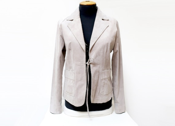 1970s gray suede leather jacket for women size 14