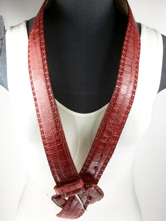 1980s wide red reptile leather belt for women - image 9