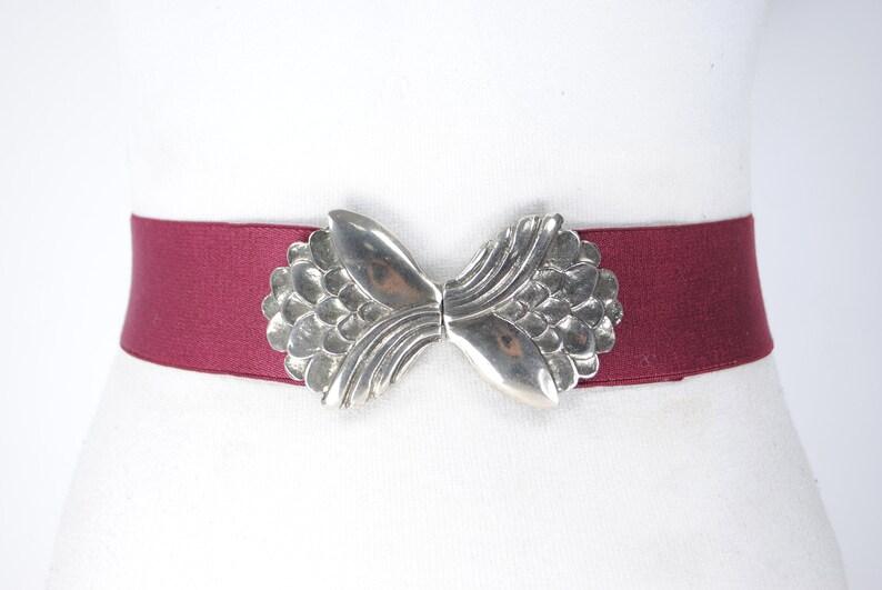 70s 22/'/'-53/'/' Purple Elastic belt Maroon Stretch belt Burgundy Waist belt with Silver Flower Buckle