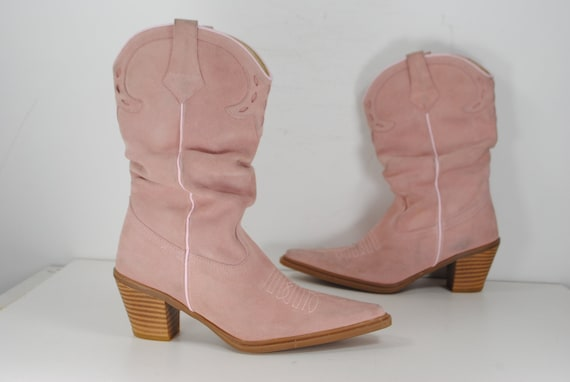 Pink Suede Mid-calf Cowgirl boots / Western Ankle