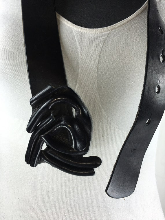 1980s Black wide corset leather belt for women - image 9