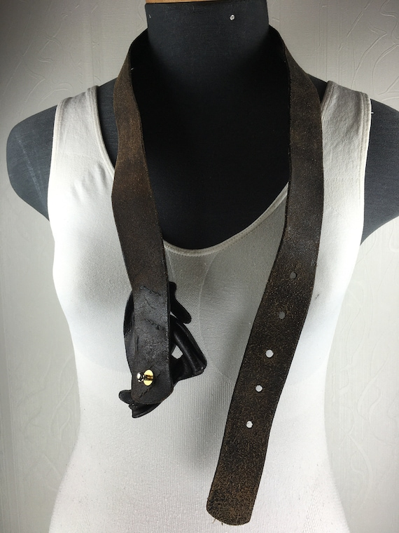 1980s Black wide corset leather belt for women - image 10