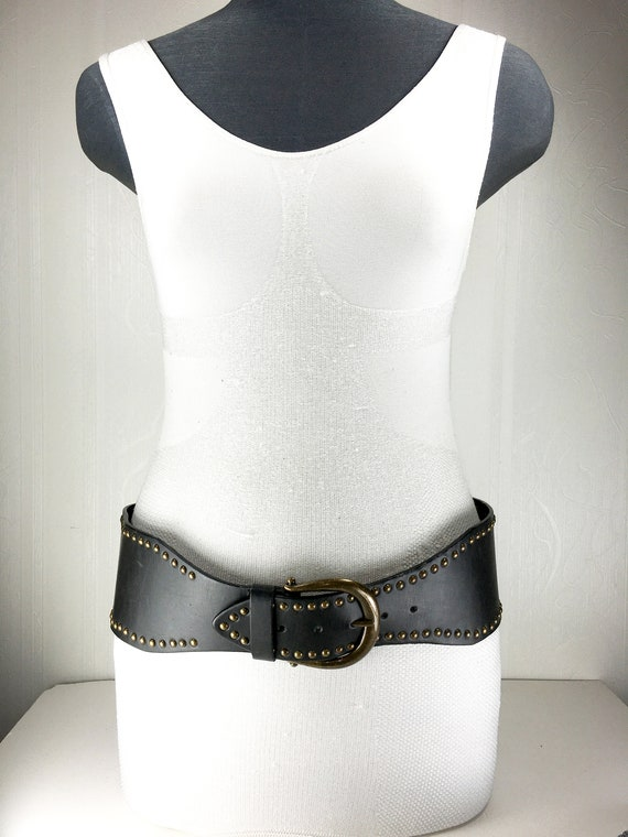 1980s chocolate Brown wide large leather belt for… - image 2