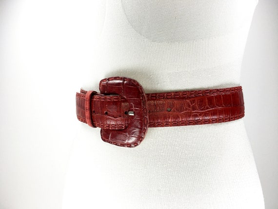 1980s wide red reptile leather belt for women - image 5