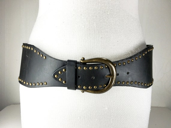 1980s chocolate Brown wide large leather belt for… - image 4