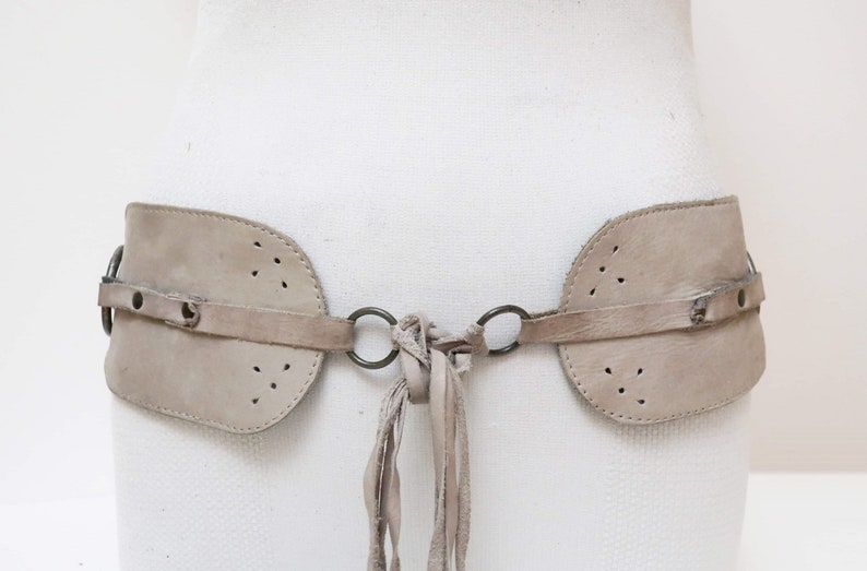 1970s gray suede leather link belt with tie up