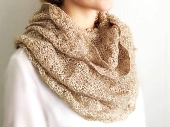 Knitted crochet infinity scarf women beige scarf crochet winter scarf elegant