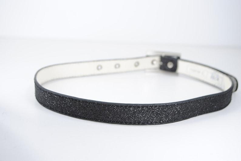 Skinny Black glitter belt womens 1980s belt 80s belt sparkly