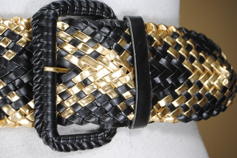 1980s 48/'/' black and gold wide woven belt for women