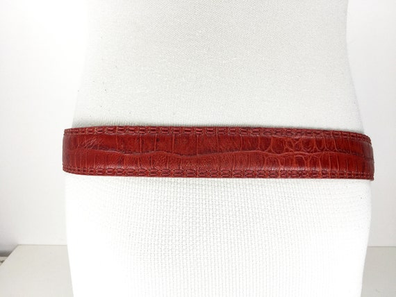 1980s wide red reptile leather belt for women - image 6