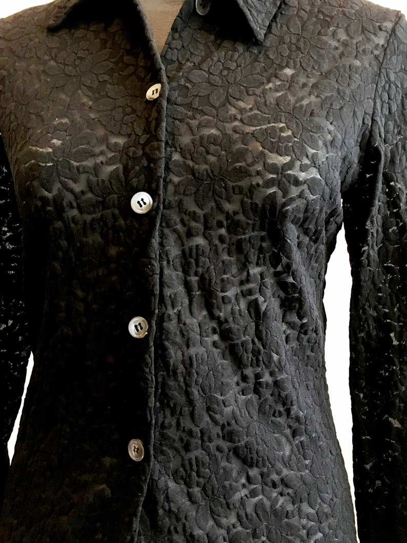 Black see through lace blouse long sleeve size M