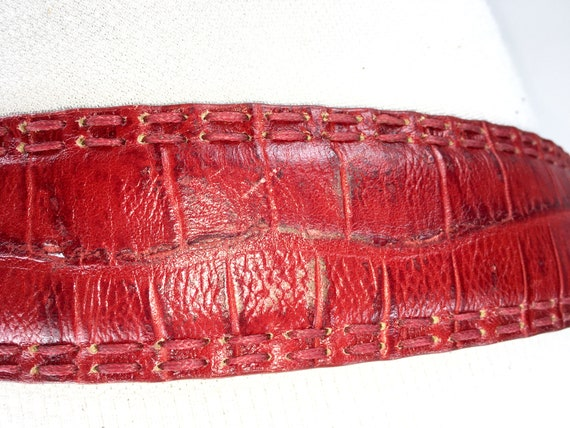 1980s wide red reptile leather belt for women - image 7