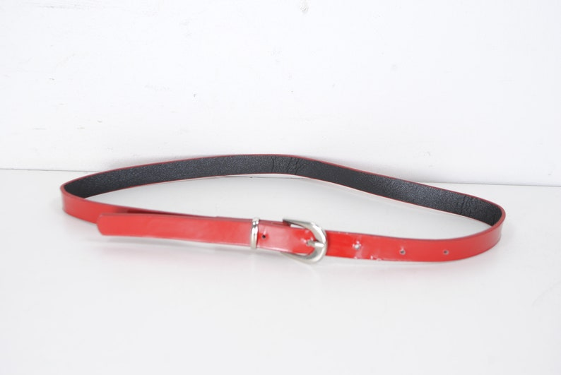 60s 21/'/'-25/'/' Skinny Red Leather Belt for Women