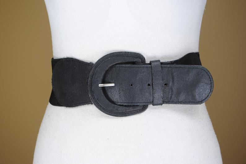 1980s 38/'/'-46/'/' Black wide stretch waist belt for women