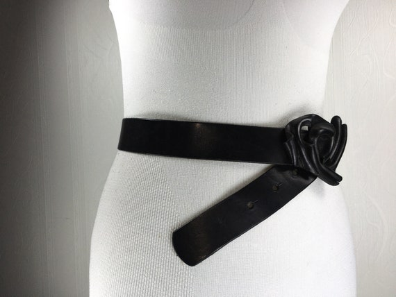 1980s Black wide corset leather belt for women - image 5