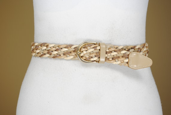 38'' Beige brown braided belt for women / harness