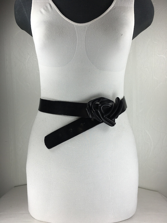 1980s Black wide corset leather belt for women - image 6