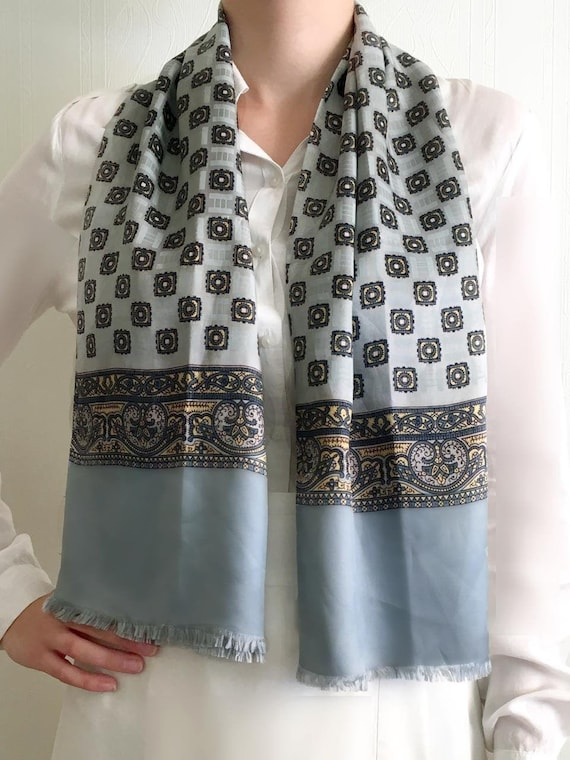 1980s gray blue Men's  Retro Neck Scarf