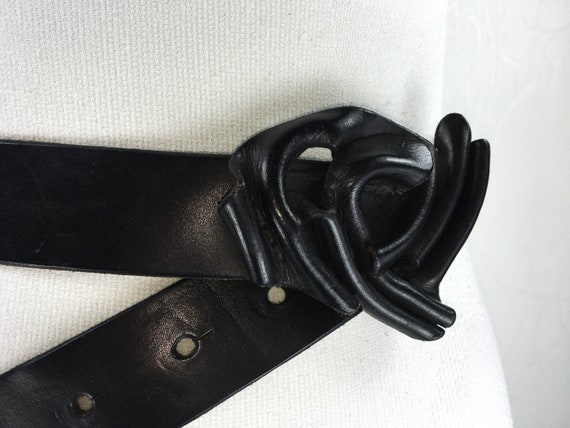 1980s Black wide corset leather belt for women - image 8