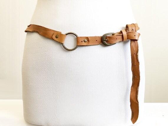 1970s Brown asymmetric tan leather belt women, bur