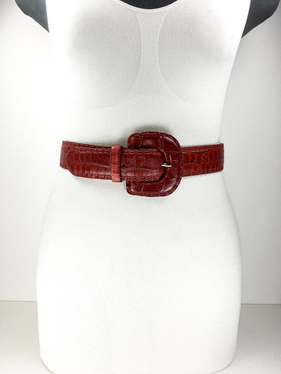 1980s wide red reptile leather belt for women - image 2