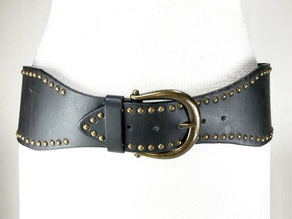 1980s chocolate Brown wide large leather belt for… - image 1