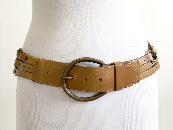 1970s Brown tan harness leather belt for women