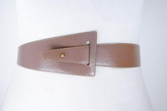 Brown asymmetric leather belt harness belt