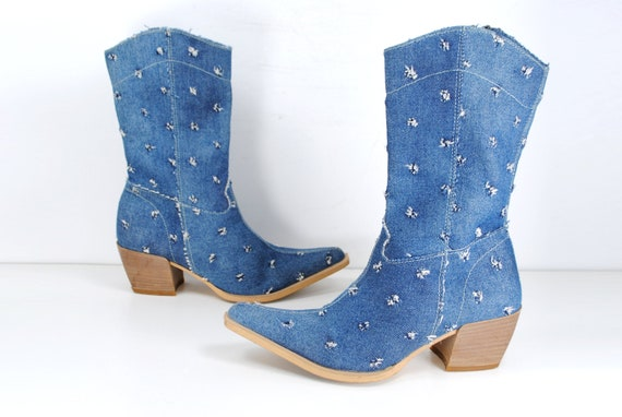 Cowgirl blue denim boots / Western Ankle Boots wom
