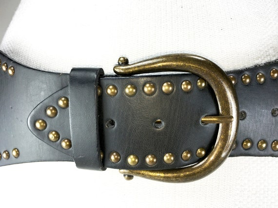 1980s chocolate Brown wide large leather belt for… - image 6