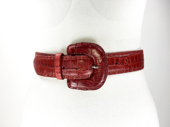 1980s wide red reptile leather belt for women - image 4