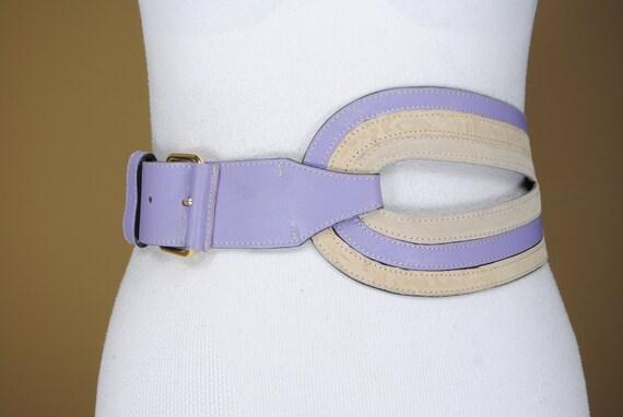 Striped Stretch belt 90s 25/'/'-30/'/'  Wide Green Purple Elastic Belt for women