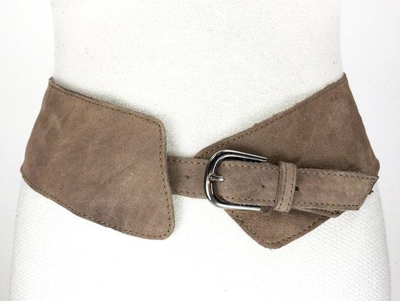 1990s brown wide asymmetrical belt, harness belt,