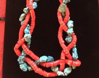 Coral and turquoise statement necklace