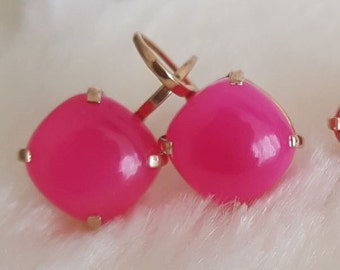 Stylish earrings with chalcedony cabochon, 925 silver, rosé gold, fuchsia, handmade