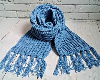 Knitting PATTERN-Blue Scarf