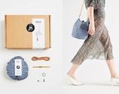 Crochet Kit Bucket Bag in Blue DIY