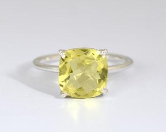 925 Sterling Silver  Lemon Quartz  Gemstone  Ring For Christmas Gift.