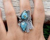 Blue Copper Turquoise Ring,925 Sterling Silver Ring, Boho Ring, Dainty Ring, Turquoise Jewelry,Promise Ring ,December Birthstone N0 - RT-090