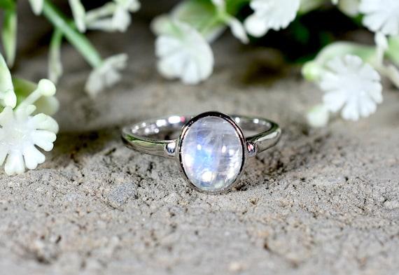 Gemstone Ring Engagement Ring Design No RWR-001 Silver Ring WHITE RAINBOW  Ring Wedding Ring Birthday Gift