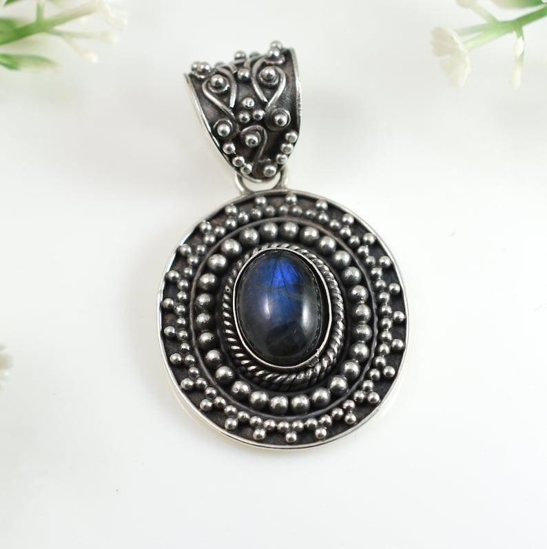 Handmade Pendant,Vintage Pendant Gift.Design N0 PLAB-002 Labradorite Pendant Blue Flash Huge Pendant 92.5 Sterling Silver Pendant