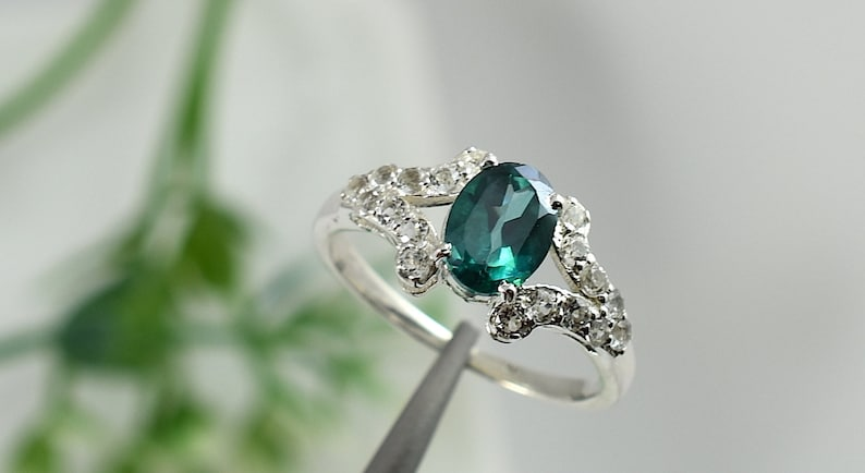Emerald Green Topaz Silver Ring Anniversary Statement Ring Valentine Gift Design N0 RGT-023 Promise Ring Midi Ring,Engagement Ring