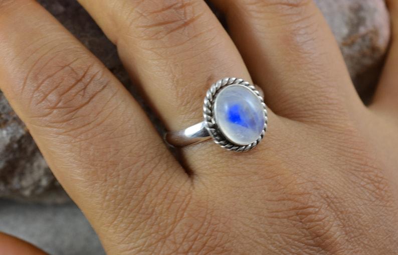 925 Sterling Silver Ring Gemstone Ring,Engagement Ring,Birthday Gift Design N0-RWR-018 June Birthstone White Rainbow Moonstone RING