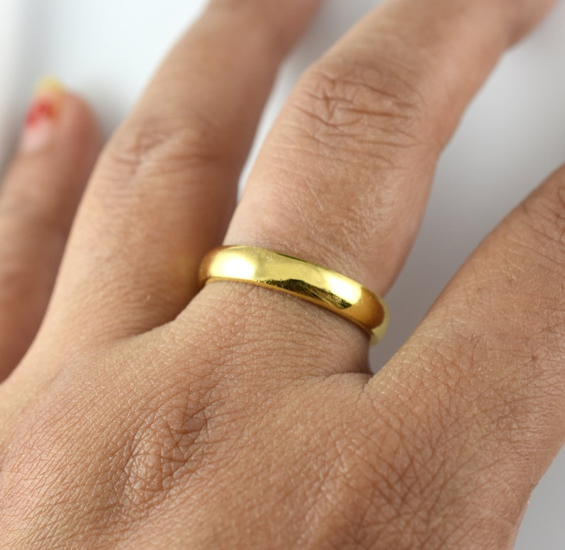 Mens Womens engagement Ring,Yellow Rhodium Plain Sterling Silver Band,Plain Silver Stacking Ring,Simple Thumb Ring,,3.80 mm Wide Band Ring