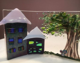 New home — fused glass street view, a perfect housewarming gift