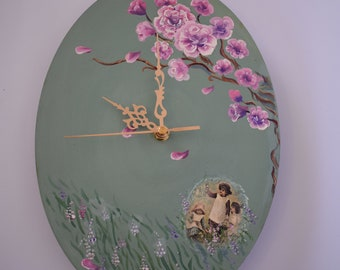 "A wall clock unique ""children of roses"" 'color green-gray, 22*29 ,is handmade love"