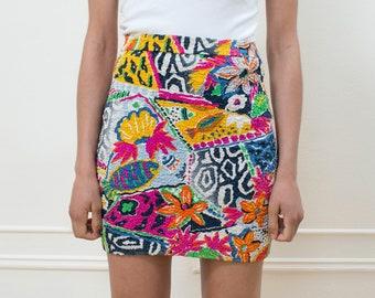 31d7464b9f 80s escada rainbow print mini skirt xs