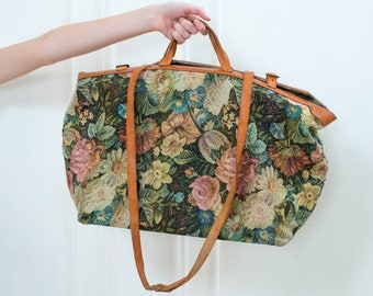 48b32255881 70s floral leather duffle bag   flower print weekender bag   woven floral  carry on   weekend bag   leather trim bag   dusty rose duffle bag